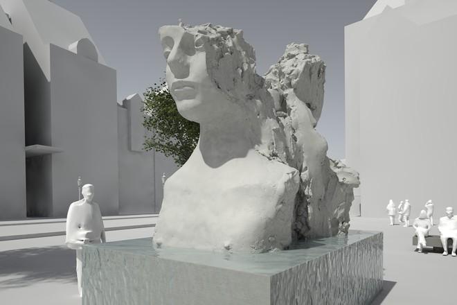 De door Mark Manders ontworpen fontein die op het Rokin zal komen te staan. Illustratie: Mark Manders
