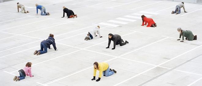 Uitsnede van een foto uit de serie 'Auf die plätze, fertig, los'. Foto: Frauke Thielking