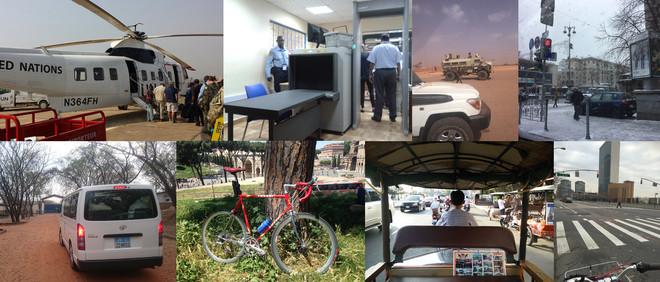 Een greep uit de vervoersmiddelen die onze VN-medewerkers nemen om naar hun werk te reizen. De foto's zijn gemaakt door de zeventien dagboekschrijvers uit dit verhaal.