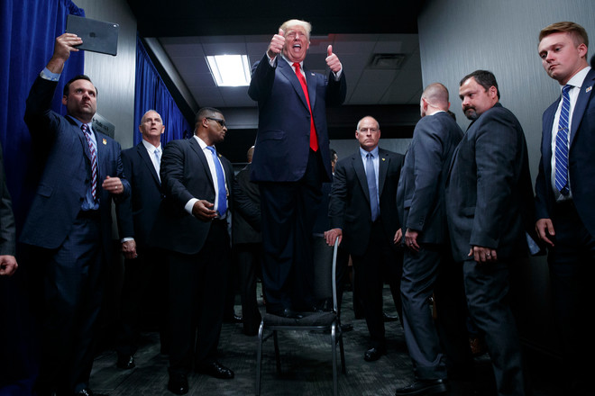 Presidentskandidaat Donald Trump op campagne in Greenville (6 september 2016). Foto: Evan Vucci / HH