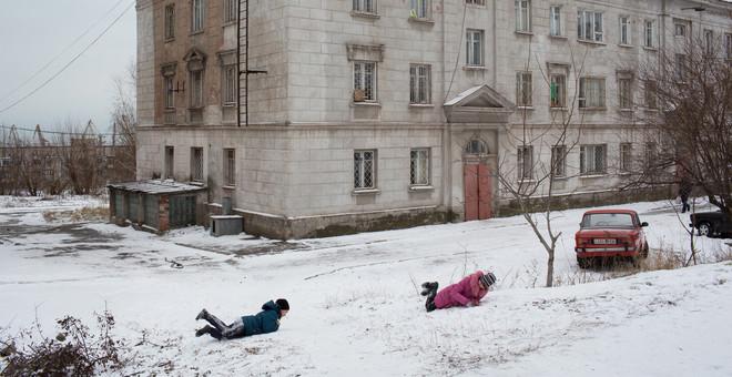 Dit is het voormalige studentenhuis in de stad Marioepol dat momenteel fungeert als opvang voor vluchtelingen. Foto: Alexander Chekmenev (voor De Correspondent)