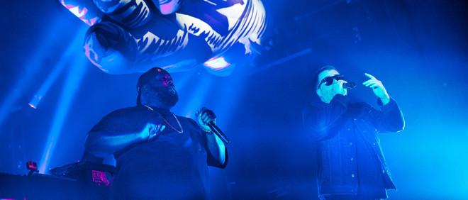 Run the Jewels tijdens hun concert in de melkweg. Foto: Catherina Gerritsen (voor De Correspondent)