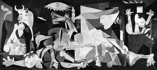 'Guernica' van Picasso toont het bombardement op Guernica (1937) tijdens de Spaanse Burgeroorlog. Reproductie: Culture-images / fai / HH