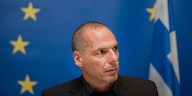 Yanis Varoufakis, de Griekse minister van Financiën,  tijdens een persconferentie na een vergadering van de eurogroep in Luxemburg op 18 juni 2015. Foto: Jasper Juinen / Bloomberg via Getty Images