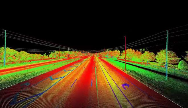 Een visualisatie van data gemeten met LiDAR-sensoren, dezelfde techniek die doorgaans gebruikt wordt in zelfrijdende auto's. Screenshot: HDS Laser Scanning