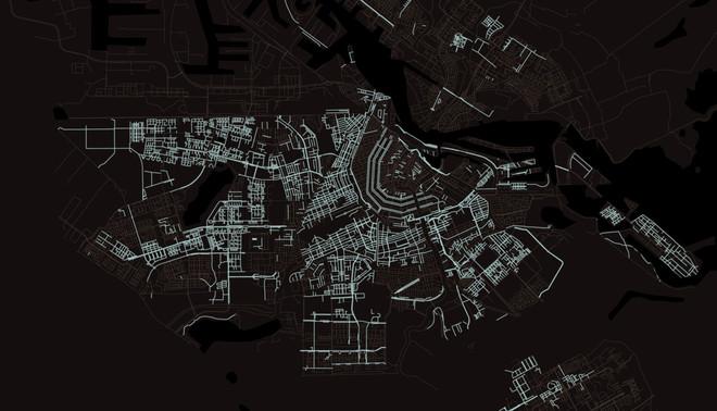 Kaart van Amsterdam. De lichte lijnen zijn straten die vernoemd zijn naar een mens.