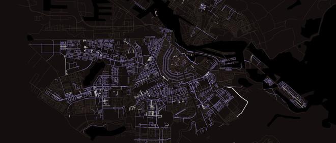 Kaart van Amsterdam. De paarse lijnen zijn straten die vernoemd zijn naar een man, de witte lijnen naar een vrouw en de grijze naar iets anders dan een mens.