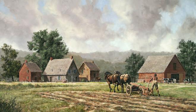 De Nederlandse boerderij van de familie Mabee aan de Mohawk-rivier, circa 1800. De afgebeelde man was een slaaf genaamd Cato, die later zou ontsnappen. De familie Mabee plaatste een advertentie in de krant waarin ze een beloning van 30 dollar uitloofden voor degene die Cato zou terugbrengen. ' Mabee Farm', geschilderd door Len Tantillo.