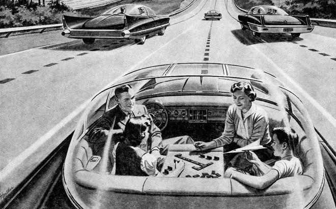 Vintage illustratie van een familie die een bordspel speelt in hun futuristische elektrische auto. Illustratie: GraphicaArtis / Getty