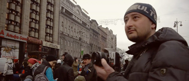 Still uit de korte film: Een Rus op het Majdanplein