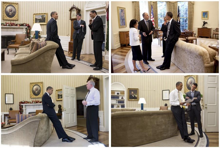 De vaste plek van Obama op de bank. Foto's: Pete Souza/the White House
