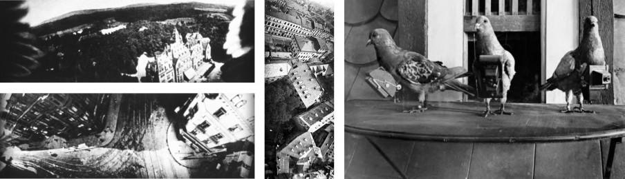 Links en midden: luchtfoto's gemaakt met behulp van postduiven in Duitsland, begin twintigste eeuw. Rechts: postduiven met camera. Bron: Wikimedia Commons