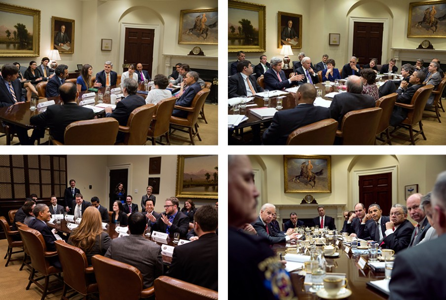 Heel soms praat Obama niet. Foto's: Pete Souza/the White House