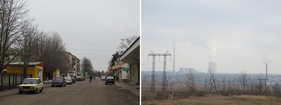 Links: Een verlaten straat in het dorp Ilovajsk. Rechts: Landschap in Oost-Oekraïne. Foto's: Floris Akkerman