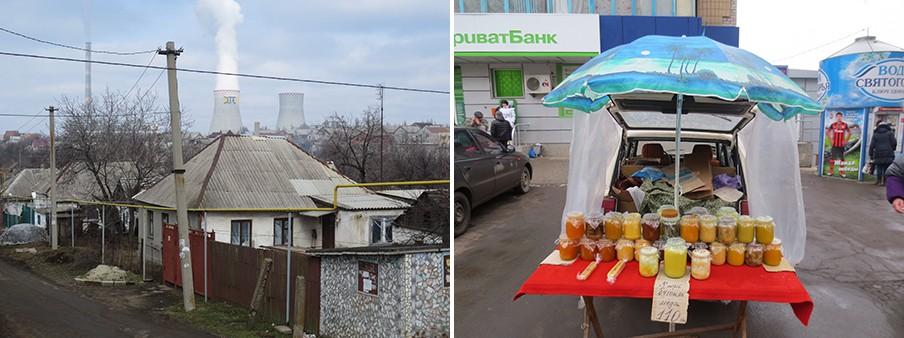 Links: Aan de horizon Dtek, de grootste elektriciteitscentrale van Oekraïne. Rechts: Honingverkoop in een buitenwijk van de Oost-Oekraïense stad Donetsk. Foto's: Floris Akkerman