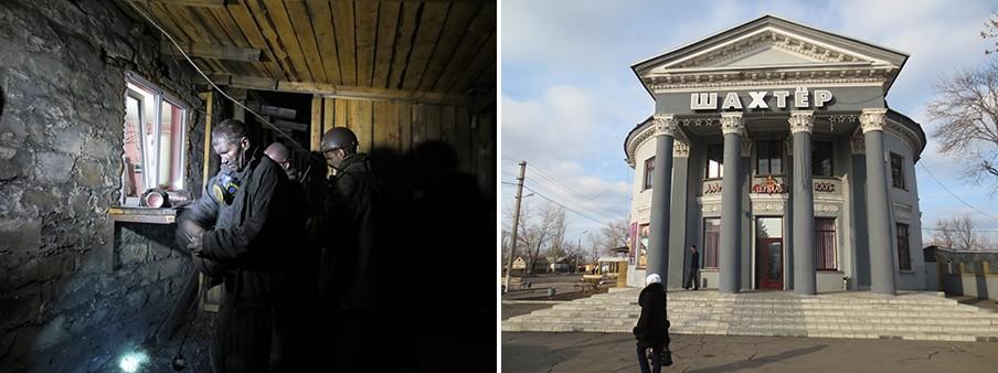 Links: Mijnwerkers na hun werkdag. Rechts: Cafe-restaurant Sjachtjor ('Mijnwerker). Foto's: Floris Akkerman
