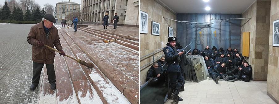 Links: Een inwoner van Donetsk maakt de straat schoon na een demonstratie. Rechts: De politie rust uit tijdens demonstraties in Donetsk. Foto's: Floris Akkerman