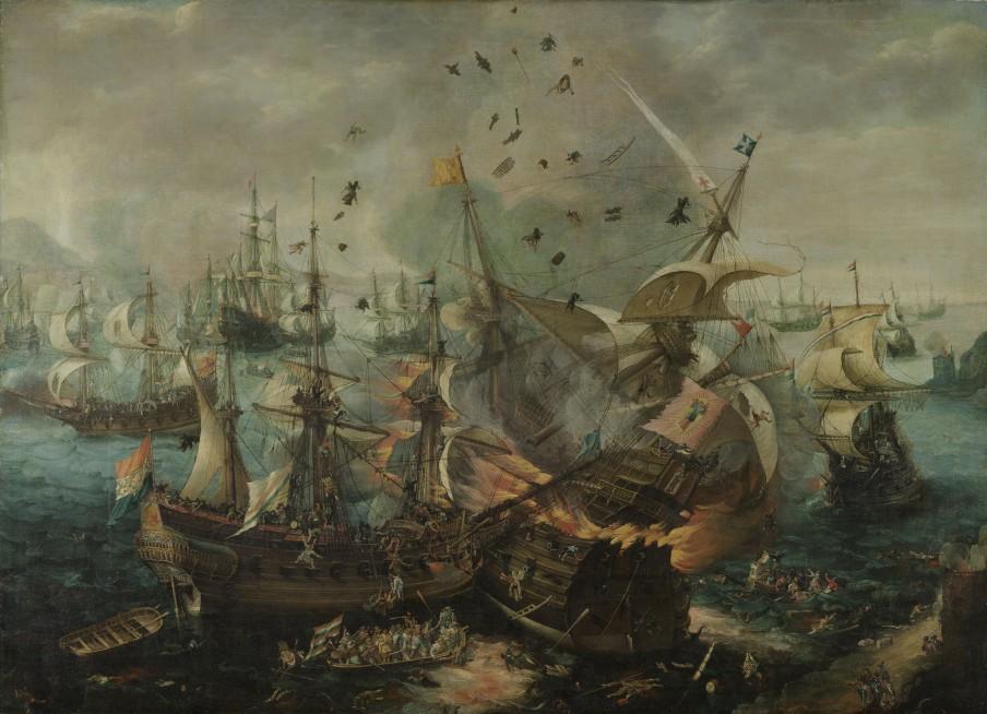 The Explosion of the Spanish Flagship during the Battle of Gibraltar, Cornelis Claesz. van Wieringen, c. 1621. Image courtesy of Rijksmuseum