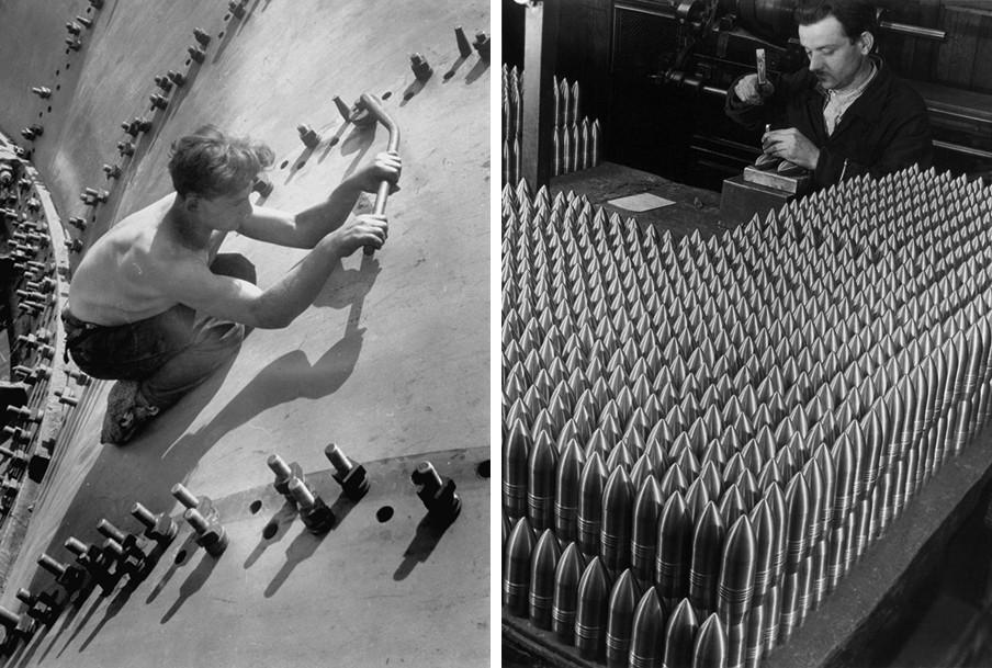 Links: Arbeider bouwt aan de waterenergiecentrale Dnieporstroi in de Sovjet-Unie, 1930. Rechts: Tsjechische arbeider in de Skoda Munitie Fabriek, 1937. Foto's: Margaret Bourke-White, Courtesy Syracuse University Library, Time & Life, Getty Images.