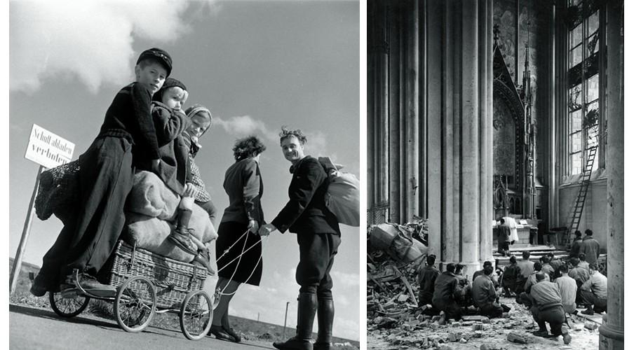 Links: Echtpaar trek een kar kinderen voort, Duitsland, 1945. Rechts: Biddende mensen in geruïneerde kathedraal, 1945. Foto: Margaret Bourke-White, Courtesy Syracuse University Library, Time & Life, Getty Images.