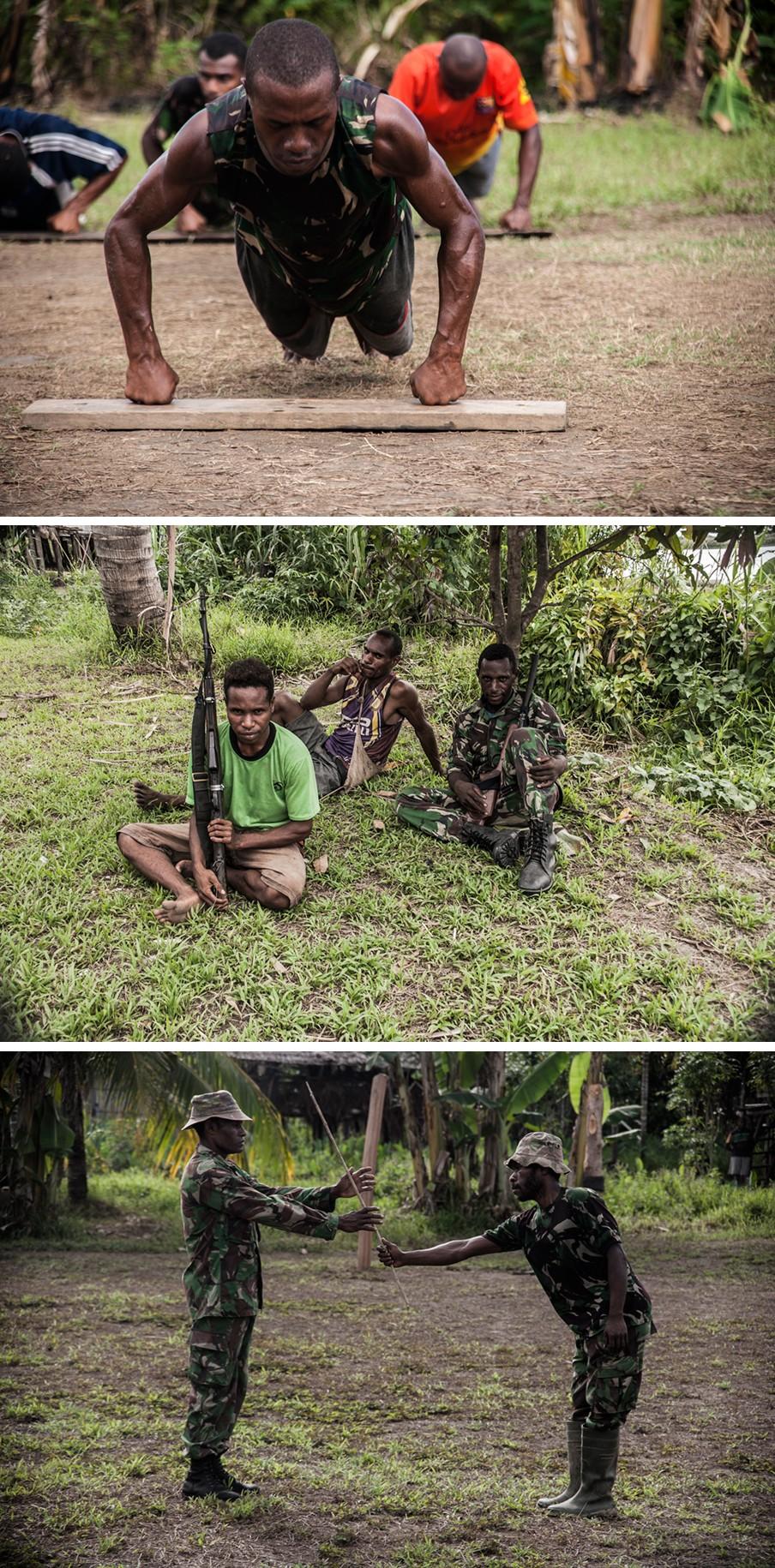 Organisasi Papua Merdeka (OPM). Ze strijden al ruim vijftig jaar tegen Indonesië voor een onafhankelijk West-Papoea, betreuren honderdduizenden doden en zijn hun leven geen moment van de dag zeker. Foto's: Andreas Stahl
