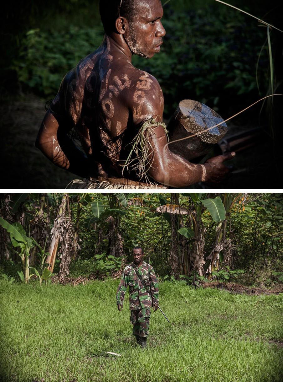 De OPM voert al sinds 1965 vanuit de jungle aanvallen uit op politieposten en het leger. De groep is slecht bewapend en staat er vrijwel alleen voor. Boven: rebel in traditionele kledij. Foto's: Andreas Stahl