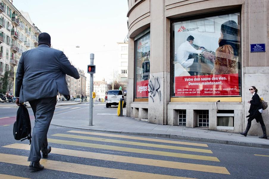 In het centrum van Genève zit het kantoor van Artsen Zonder Grenzen. Foto: Pieter van den Boogert