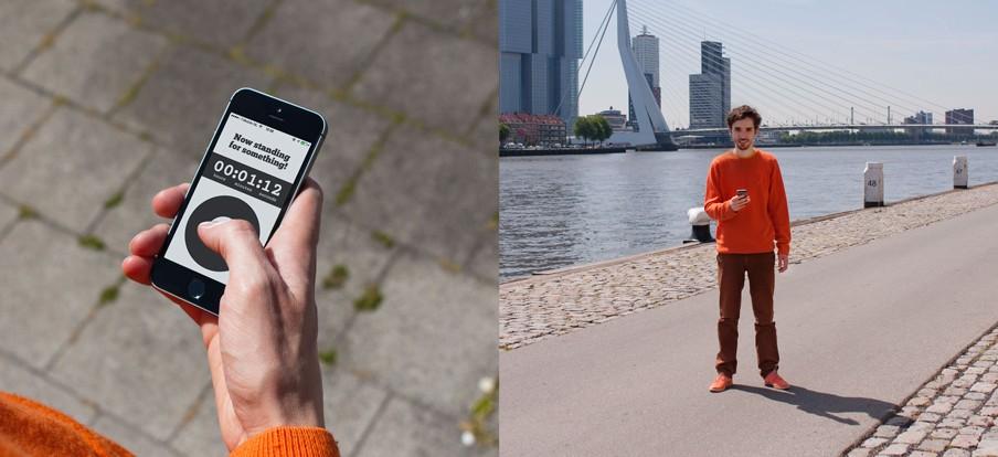 Beeld uit de campagne voor 'Standing', een app voor 'spelend activisme'. Foto: Hubbub