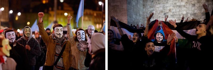 Links: Anonymous-aanhangers in Warschau (Polen) vieren de Guy Fawkes Nacht, 5 november 2013. Foto: Tomasz Gzell/ANP. Rechts: Palestijnen demonstreren nabij de Damascuspoort in Jerusalem (Israël). Foto: Abir Sultan/ANP