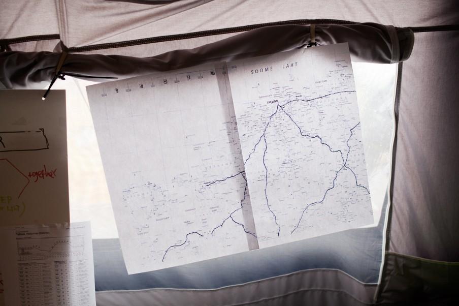 Kaart van Modexland, in de tent van het EU-coördinatieteam. Foto: Pieter van den Boogert