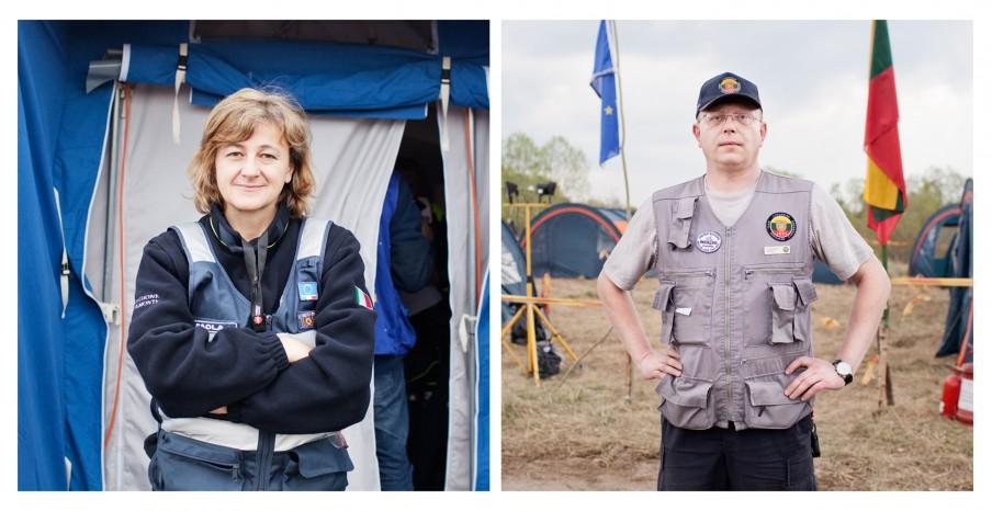 Links: Paola Bernardelli, teamleider TAST-team (Technical Assistance Support Team). Rechts: Gediminas Šukšta, teamleider Litouwse Urban Search and Rescue Team. Foto: Pieter van den Boogert
