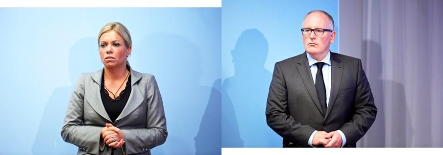 Jeanine Hennis Plasschaert en Frans Timmermans tijdens een persconferentie op 27 juli na afloop van een extra ministerraad in het Catshuis over de voortgang van de situatie in Oekraïne na de vliegramp van de MH17. Foto's: Phil Nijhuis/HH