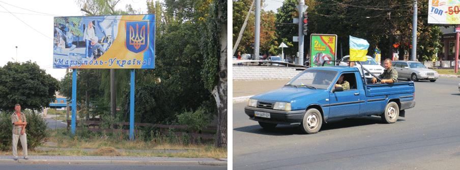 Links: Uitingen van een verenigd Oekraïne overspoelen de Zuidoost-Oekraïense stad Marioepol. Rechts: Oekraïners met de nationale vlag in Marioepol geven in een pick-uptruck blijk van steun aan hun land. Foto's: Floris Akkerman