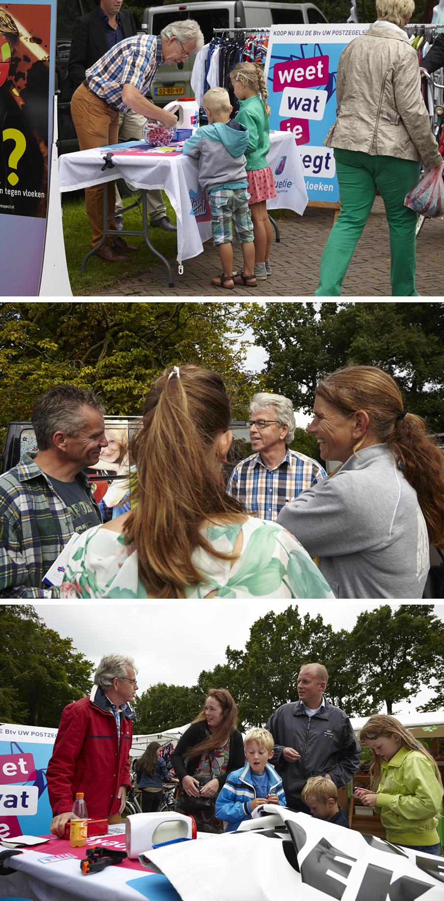 Bert Gijsbertse, coördinator van Bond tegen Vloeken, in gesprek met voorbijgangers op het Euifeest in Hasselt. Foto's: Niels Stomps