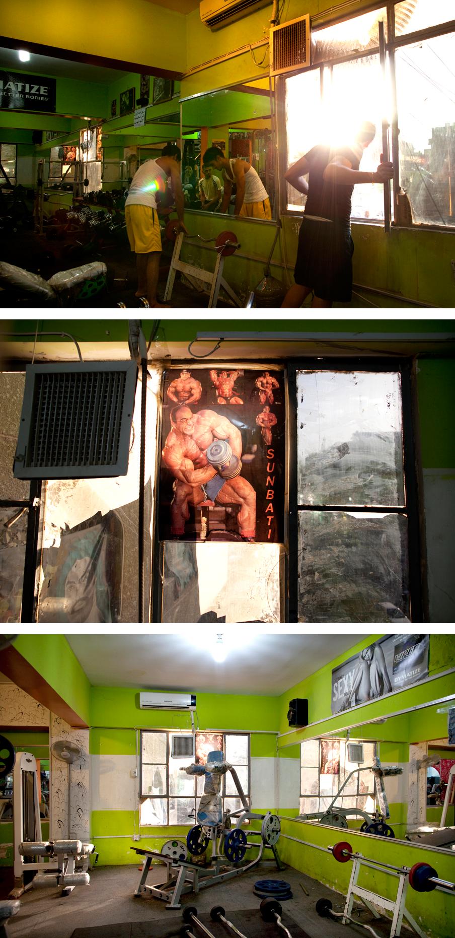 2011: De sportschool Hamar Gym op de Kerada Dachl, de Kalverstraat van Bagdad, waar altijd een pompende technobeat klinkt. Foto's: Marieke van der Velden