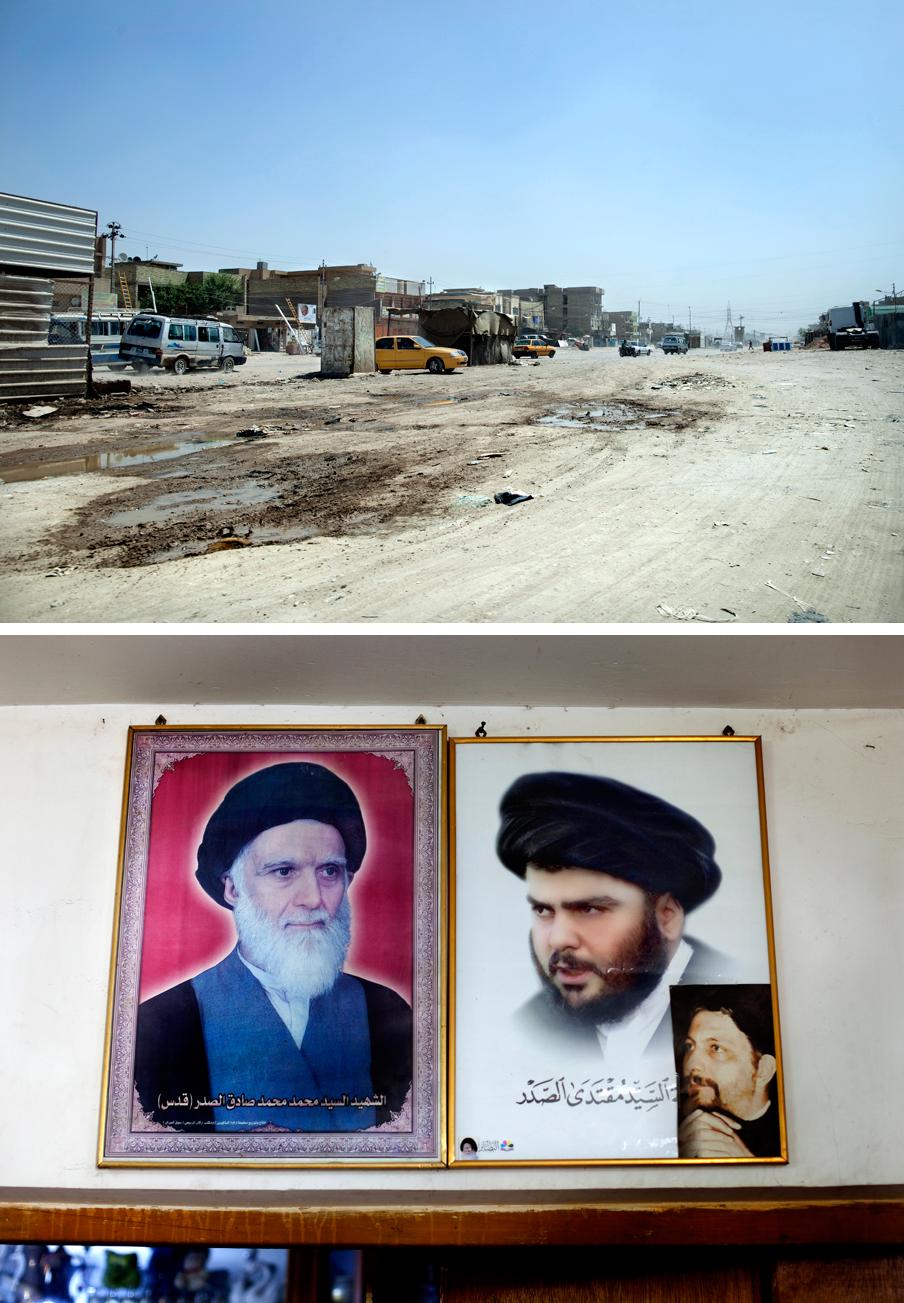 2011. Boven: Sadr City, een sloppenwijk in Bagdad. Onder: de leider Al Sadr aan de muur bij Ali thuis. Foto's: Marieke van der Velden