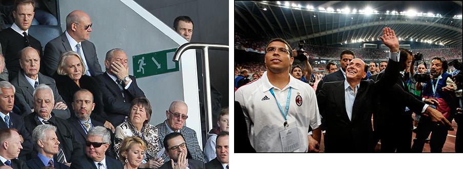 Links: Alan Sugar (midden), de 'suikeroom' van Tottenham Hotspur F.C. (17-03-2014). Rechts: Silvio Berlusconi is al sinds 1986 'suikeroom' van AC Milan (23-05-2007). Foto's: Hollandse Hoogte