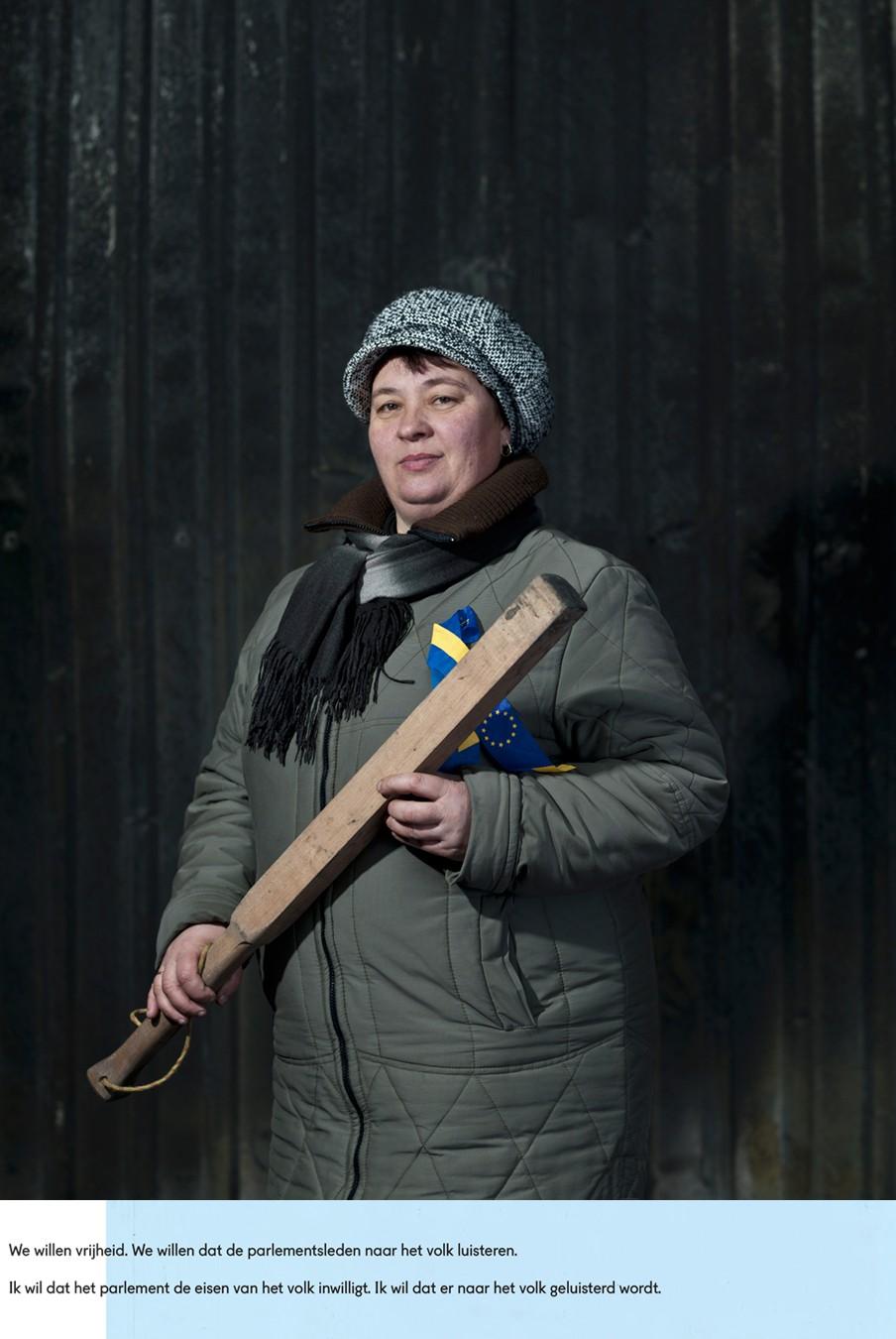 Olga Shevchyshyn. Kiev, februari 2014. En haar antwoorden op de vragen: Wat zou je willen dat er nu gebeurt? Wat denk je dat er gaat gebeuren? Foto: Emeric Lhuisset