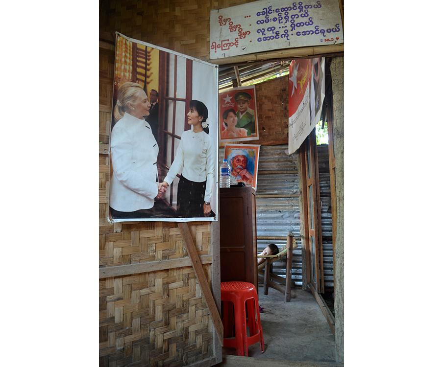 Een partijkantoor van de NLD in Bagan, Birma. Foto: Lennart Hofman
