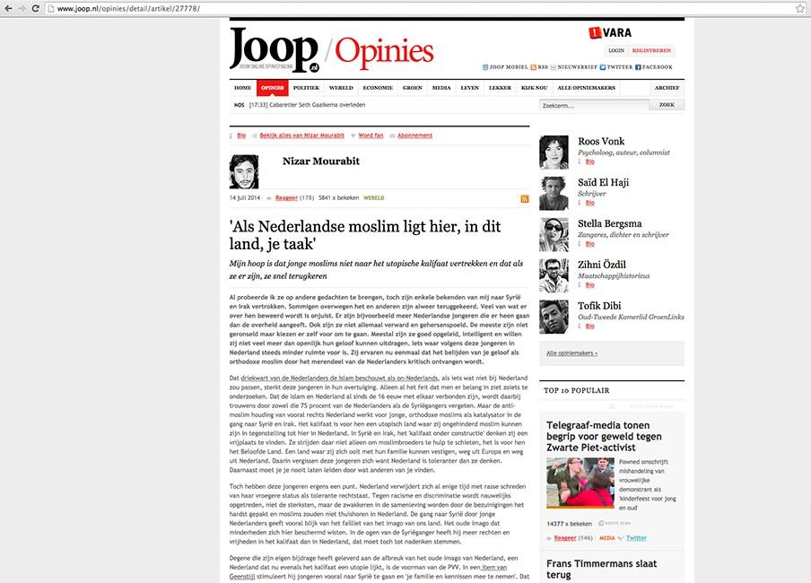 Screenshot van de online opiniepagina Joop