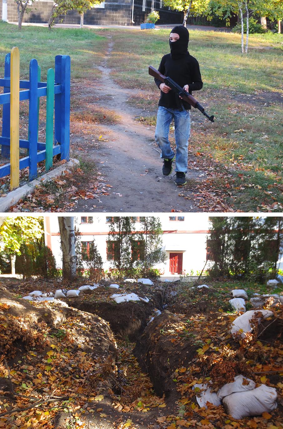 Boven: Kinderen spelen oorlogje. Net echt, met hun nepmachinegeweer en bivakmuts. Onder: Loopgraven en zandzakken in het centrum herinneren aan de oorlog tussen het Oekraïense leger en de pro-Russische separatisten. Foto's: Floris Akkerman