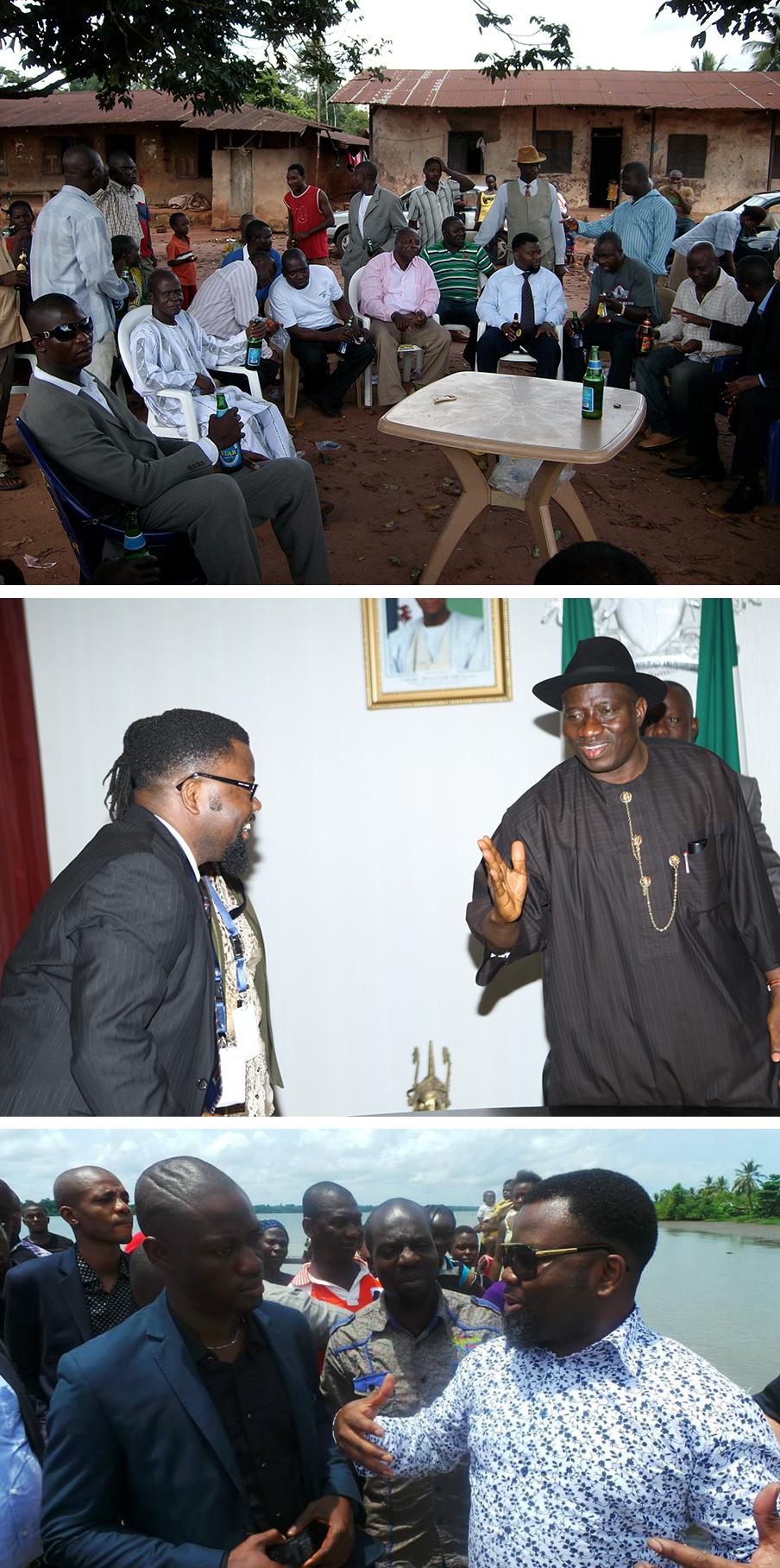 Sunny Ofehe in contact met bewoners van de Nigerdelta. Middelste foto: Sunny Ofehe ontmoet de Nigeriaanse president Goodluck Jonathan. Foto's uit het privé-archief van Sunny Ofehe