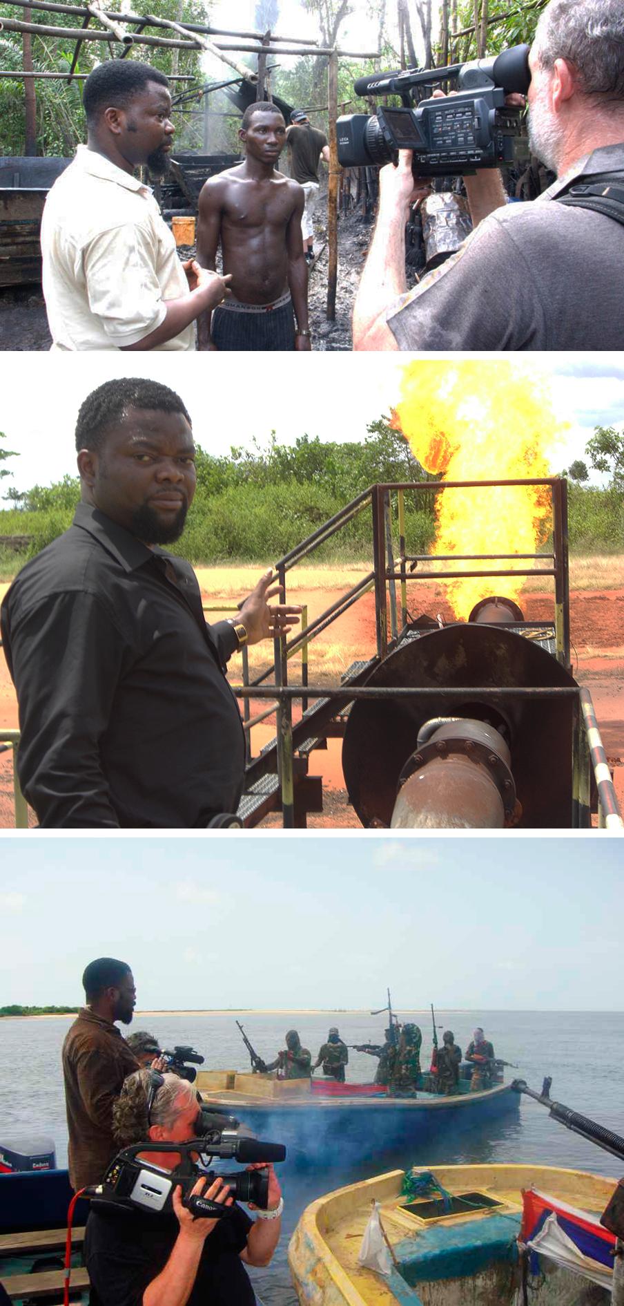 Sunny Ofehe leidt documentairemakers rond door de Nigerdelta. Foto's uit het privé-archief van Sunny Ofehe
