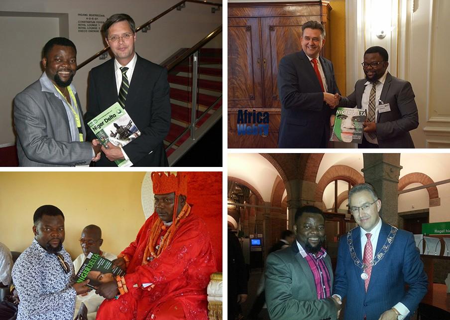 Sunny Ofehe presenteert zijn tijdschrift aan (met de klok mee): Jan Peter Balkenende, Emile Roemer, Ahmed Aboutaleb en het hoofd van de Zuid-Nigeriaanse staat Bayelsa. Foto's uit het privé-archief van Sunny Ofehe