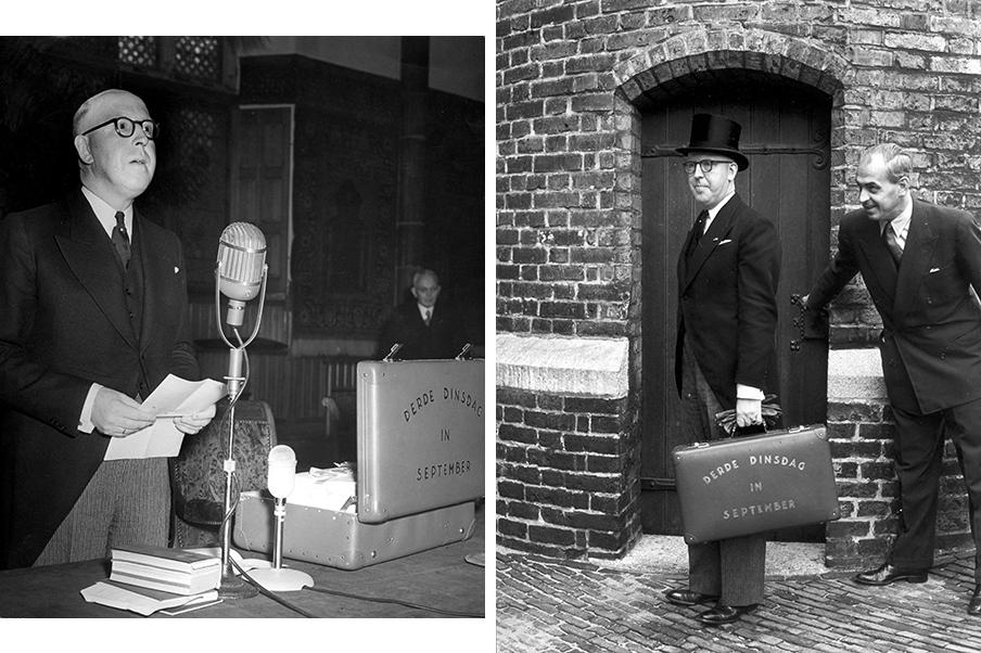 Lieftinck tijdens de presentatie van het koffertje op Prinsjesdag, 19 september 1950. Foto's: Hollandse Hoogte