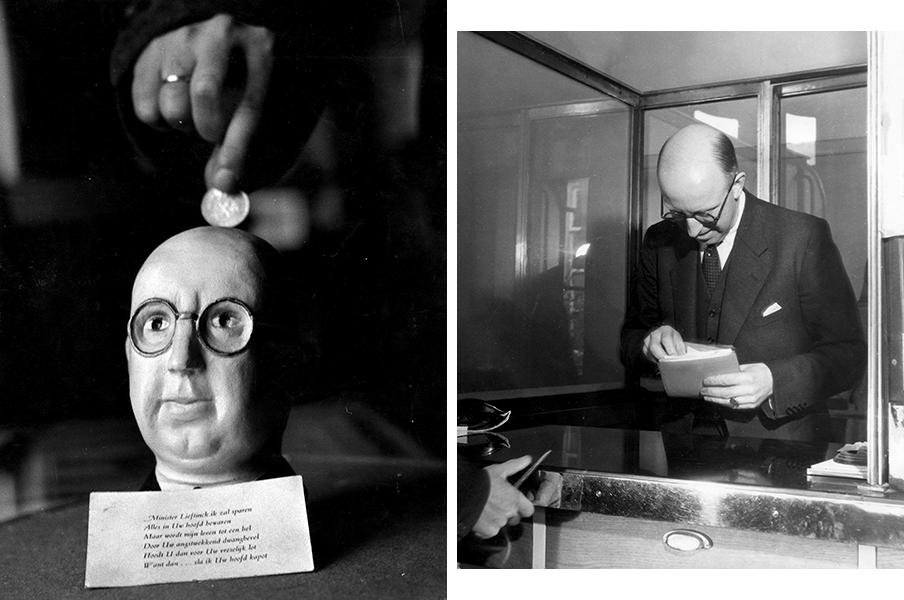 Links: Lieftinck als spaarpot (let op het gedichtje). Rechts: Lieftinck levert zijn eigen geld in tijdens de geldzuivering op 26 september 1945. Foto's: Hollandse Hoogte.