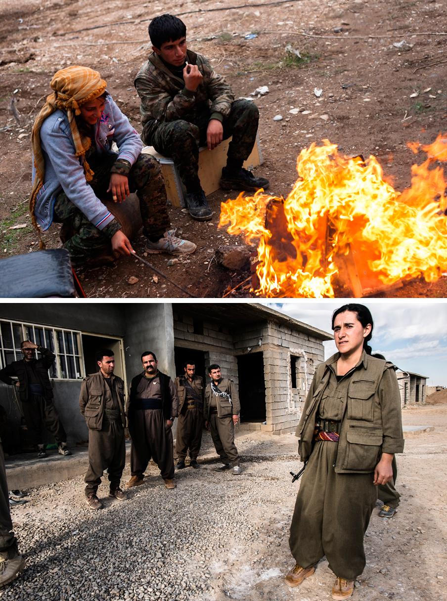 Foto boven: Een YPJ- en een YPG-strijder aan het front in Rabia, grens Syrië en Irak. Foto onder: PKK-soldaten aan het front bij Kirkuk in Irak. Op de voorgrond Tamara Kani. Foto's: Andreas Stahl
