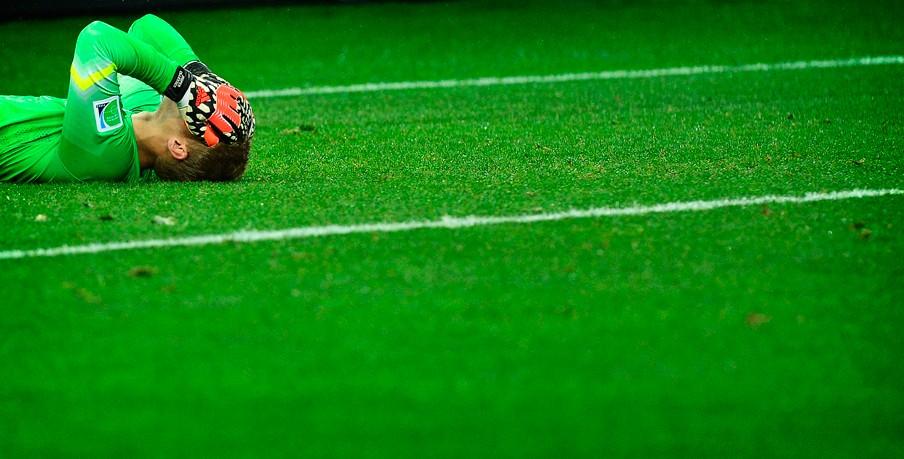 Cilissen is verslagen na het verlies tegen Argentinië. Foto: Koen van Weel/ANP