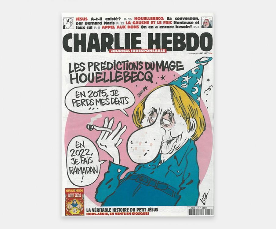 Michel Houellebecq op de cover die zegt: 'In 2015 verlies ik mijn tanden.' 'In 2022 doe ik aan de ramadan.' Beeld: cover van nieuwste editie van Charlie Hebdo