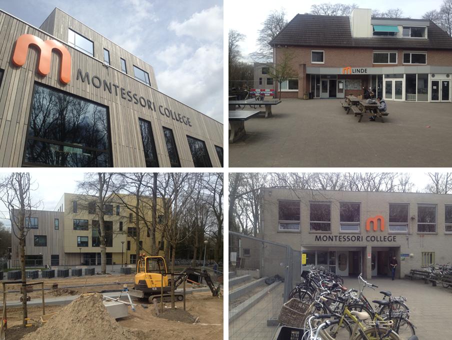 De vier gebouwen van het Montessori College in Nijmegen. Foto's: Johannes Visser